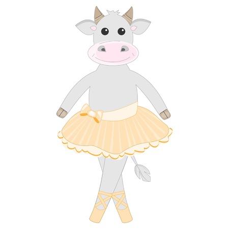 ballerina shoes: Cute cow ballet dancer pattern Illustration