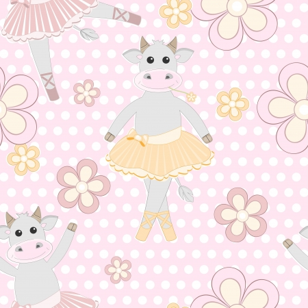Seamless background with cute cow ballet dancer pattern