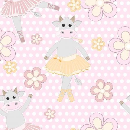 ballerina danza classica: Sfondo trasparente con disegno mucca ballerina carina balletto