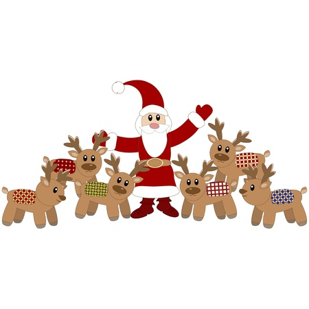 Santa Claus and cute deers Vector