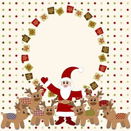 Merry Christmas and Happy New Year Card with Santa and deers