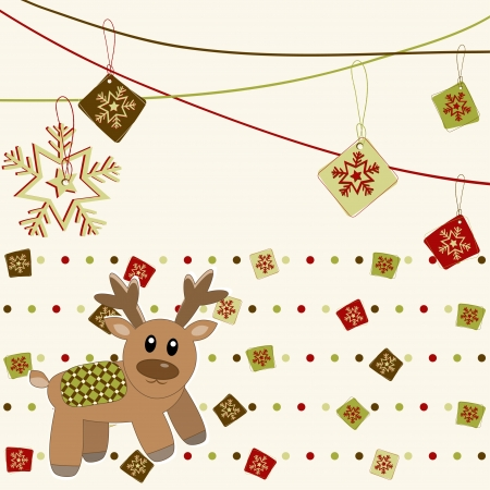 Merry Christmas and Happy New Year Card with deer  Stock Vector - 16687577