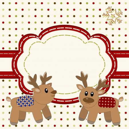 Christmas and Happy New Year Card with cute deers  Stock Vector - 16687576