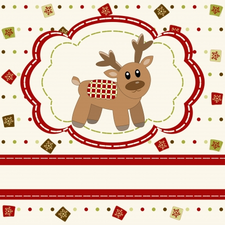 Christmas and Happy New Year Card with cute deer  Vector