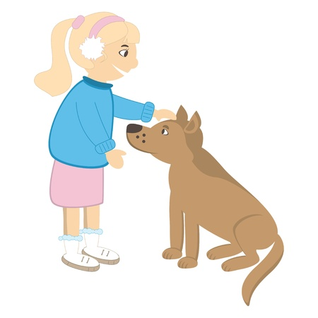 Cute girl caress the dog. Vector illustration Illustration