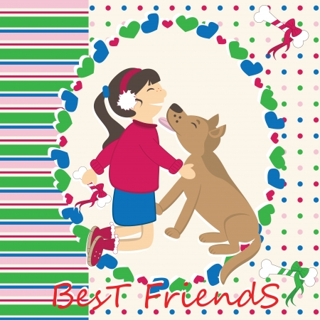 cuddle: Greeting card with dog kiss the girl