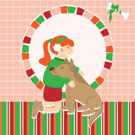Invitation card with girl caress the dog Vector