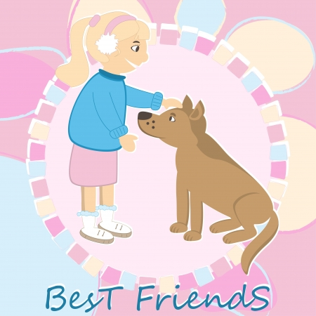 caress: Greeting card with girl caress the dog Illustration