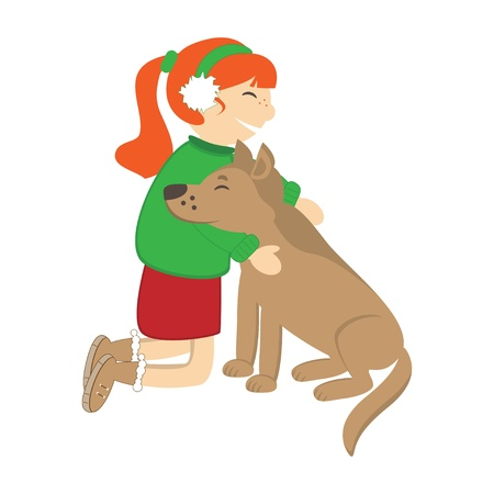 Cute girl caress the dog. Vector illustration Stock Vector - 16702923