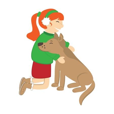 Cute girl caress the dog. Vector illustration Stock Vector - 16702923