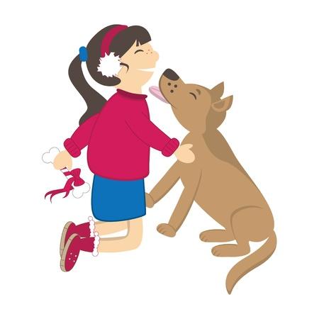 cuddle: Dog kiss the girl. Vector illustration