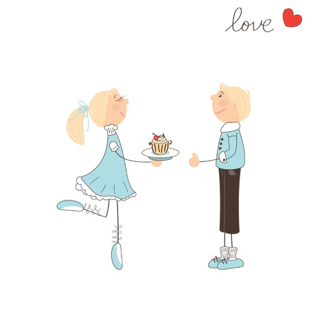 Cute girl give cake to the boy. Valentine day illustration Illustration