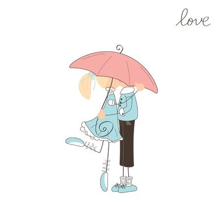 Girl kissing boy under  umbrella. Valentine day illustration Stock Vector - 17024153