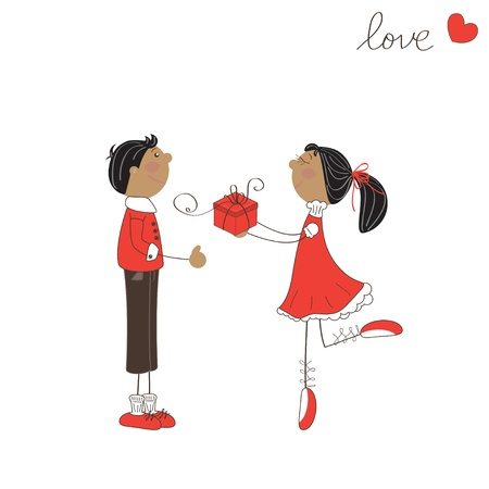 Cute girl give gift to the boy. Valentine day illustration Illustration