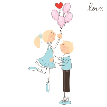 Cute girl fly away on the balloons. Valentine day illustration Stock Vector - 17024156