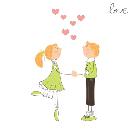 Boy and girl fall in love. Valentine day illustration Illustration