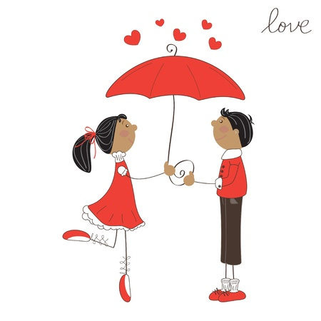 Cute girl and boy under umbrella. Valentine day illustration Illustration