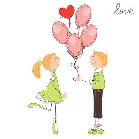 Boy give balloons to the girl. Valentine day illustration Stock Vector - 17024155