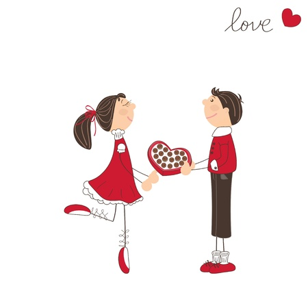Cute boy present sweets to the girl. Valentine day illustration Stock Vector - 17024157