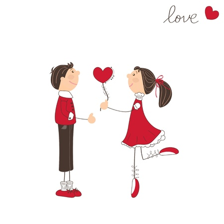 Cute girl give heart to the boy. Valentine day illustration