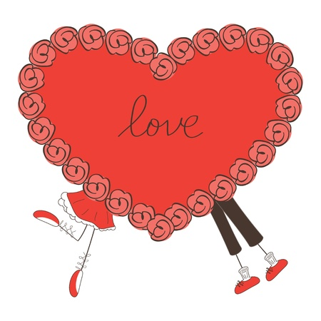 Cute boy and girl behind  big heart. Valentine day illustration