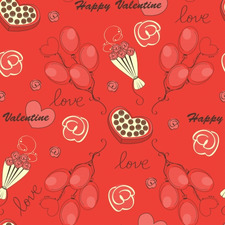 Seamless pattern with flowers and hearts. Valentine day illustration Stock Vector - 17117563