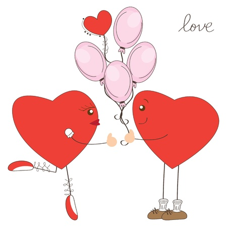 Valentine day greeting. Cute heart boy present balloons to heart girl Stock Vector - 17345242