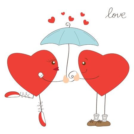 Valentine day greeting. Cute hearts under umbrella Stock Vector - 17345237