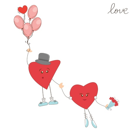 Valentine day greeting. Cute hearts fly away on balloons Stock Vector - 17345248