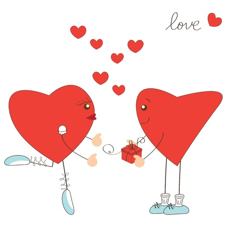 Valentine day greeting. Heart boy present gift to  heart girl Stock Vector - 17345238