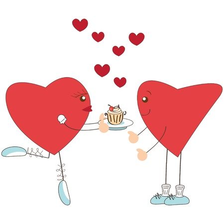 Valentine day greeting. Cute heart girl present cake to heart boy