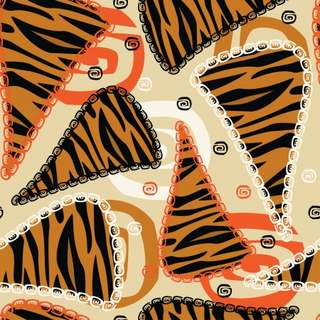 African style seamless with tiger skin pattern  Vector
