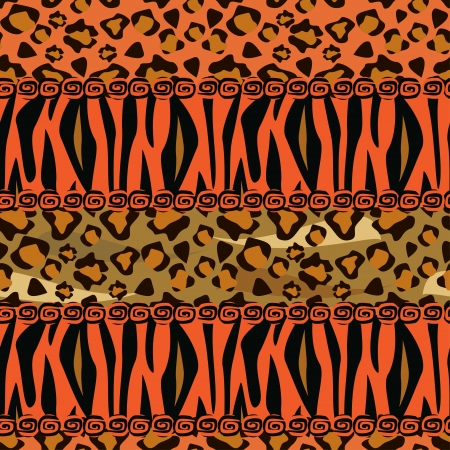 African style seamless with cheetah and tiger skin pattern  Vector