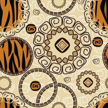 indigenous: African style seamless with tiger skin pattern