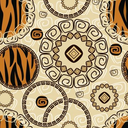 aborigine: Estilo africano sin fisuras con el patr�n de piel de tigre Vectores