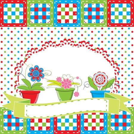 Greeting card with flowers in pot