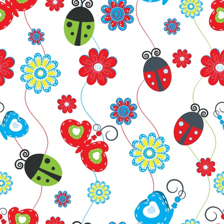 brightly: Ladybirds and butterflies seamless pattern