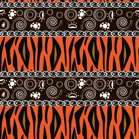 tribal design: African style seamless with tiger skin pattern