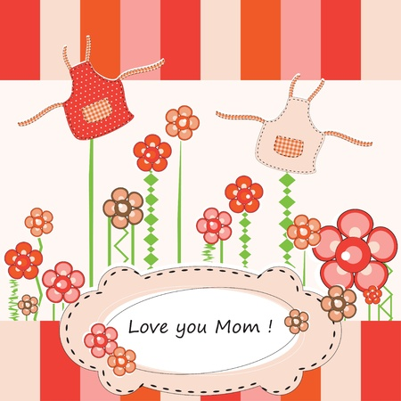 Mothers Day greeting with flowers and apron