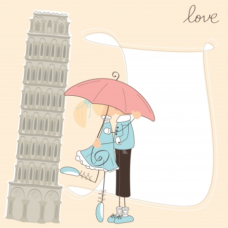 Girl kiss boy under umbrella in Italy Stock Vector - 18856775