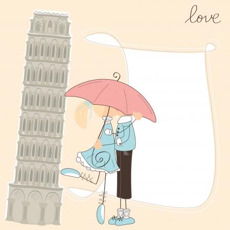 Girl kiss boy under umbrella in Italy Stock Vector - 18856775