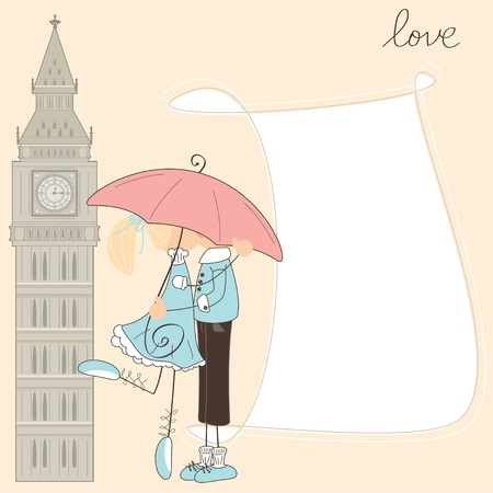 Girl kiss boy under umbrella in London  Illustration