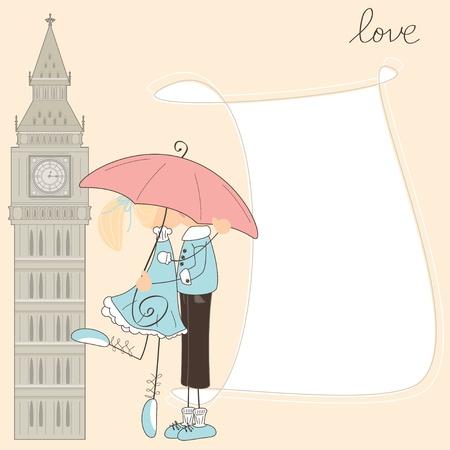 Girl kiss boy under umbrella in London  Illustration