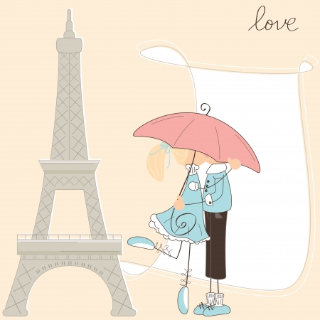 Girl kiss boy under umbrella in Paris