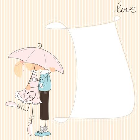 Girl kiss boy under umbrella  Stock Vector - 18856771