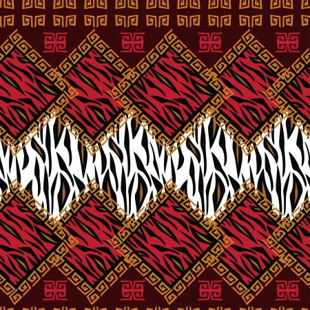 African style seamless with wild animal skin pattern Illustration