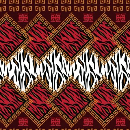 arte africano: Estilo africano sin fisuras con el patrón de piel de animal salvaje Vectores