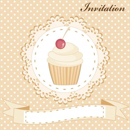 vanilla cake: Invitation card with cute vanilla cake and cherry