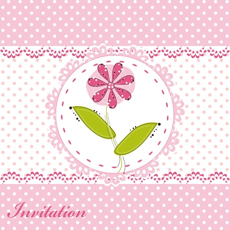 Invitation card with cute flower  Vector