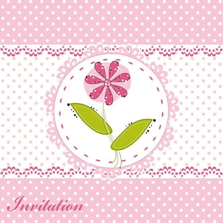 Einladungskarte mit niedlichen Blumen